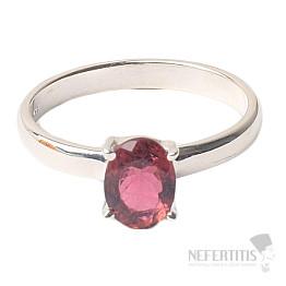 Turmalín růžový broušený prsten stříbro Ag 925 R73
