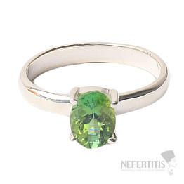 Turmalín zelený broušený prsten stříbro Ag 925 R76
