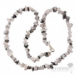 Křišťál s turmalínem náhrdelník sekaný