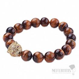 Tygří oko pánský náramek s hlavou jaguára