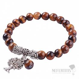 Tygří oko náramek extra korálkový se Stromem života