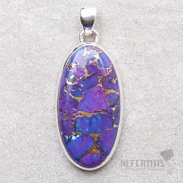 Tyrkys přírodní purpurový přívěsek stříbro Ag 925 P1866