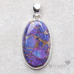 Tyrkys přírodní purpurový přívěsek stříbro Ag 925 P1870