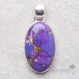 Tyrkys přírodní purpurový přívěsek stříbro Ag 925 P1891
