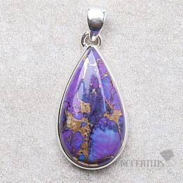 Tyrkys přírodní purpurový přívěsek stříbro Ag 925 P1887