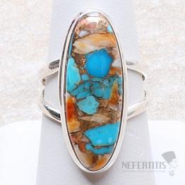 Tyrkys přírodní s lasturou prsten stříbro Ag 925 R298