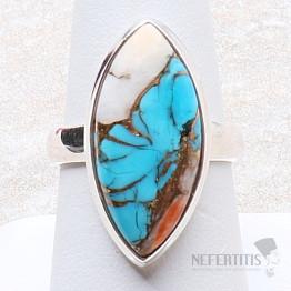 Tyrkys přírodní s lasturou prsten stříbro Ag 925 R304