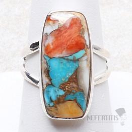 Tyrkys přírodní s lasturou prsten stříbro Ag 925 R274
