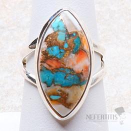 Tyrkys přírodní s lasturou prsten stříbro Ag 925 R276
