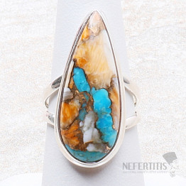 Tyrkys přírodní s lasturou prsten stříbro Ag 925 R299