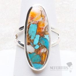 Tyrkys přírodní s lasturou prsten stříbro Ag 925 R300
