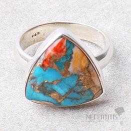 Tyrkys přírodní s lasturou prsten stříbro Ag 925 R307