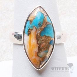 Tyrkys přírodní s lasturou prsten stříbro Ag 925 R314