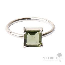 Vltavín broušený prsten stříbro Ag 925 R118