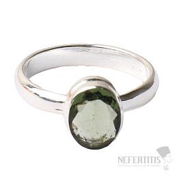 Vltavín broušený prsten stříbro Ag 925 R120
