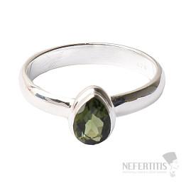 Vltavín broušený prsten stříbro Ag 925 R124