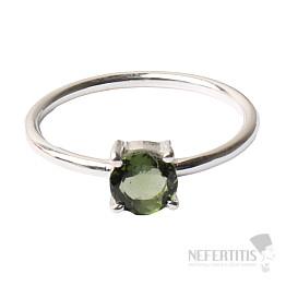 Vltavín broušený prsten stříbro Ag 925 R130
