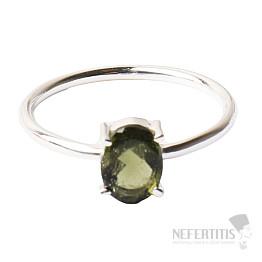 Vltavín broušený prsten stříbro Ag 925 R134