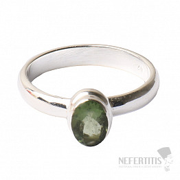 Vltavín broušený prsten stříbro Ag 925 R135