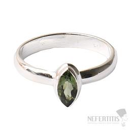 Vltavín broušený prsten stříbro Ag 925 R138