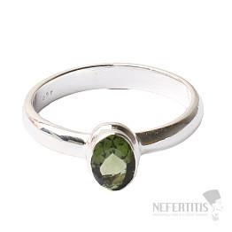 Vltavín broušený prsten stříbro Ag 925 R139