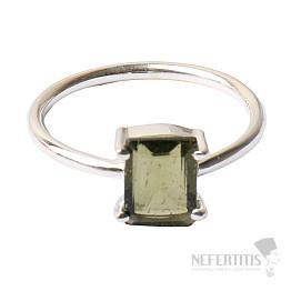 Vltavín broušený prsten stříbro Ag 925 R140