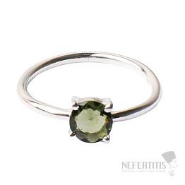 Vltavín broušený prsten stříbro Ag 925 R145