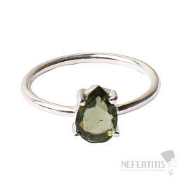 Vltavín broušený prsten stříbro Ag 925 R146