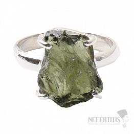 Vltavín prsten stříbro Ag 925 R1006