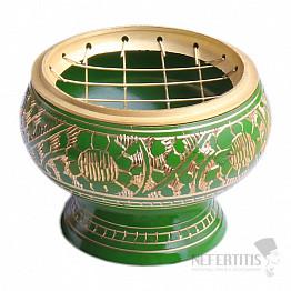 Miska mosaz zelená zdobená střední